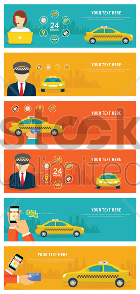 set of taxi banners vector graphic