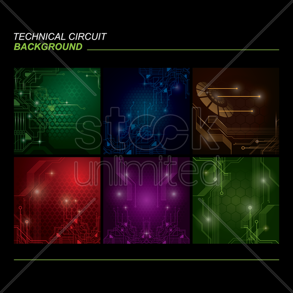 set of technical circuit backgrounds vector graphic