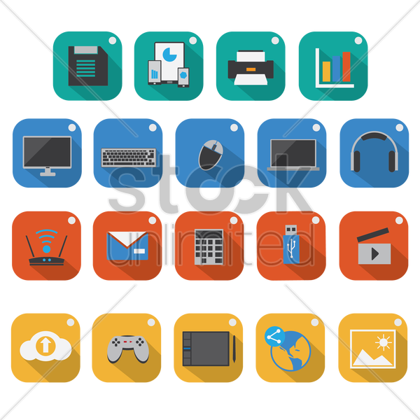 set of technology icons vector graphic