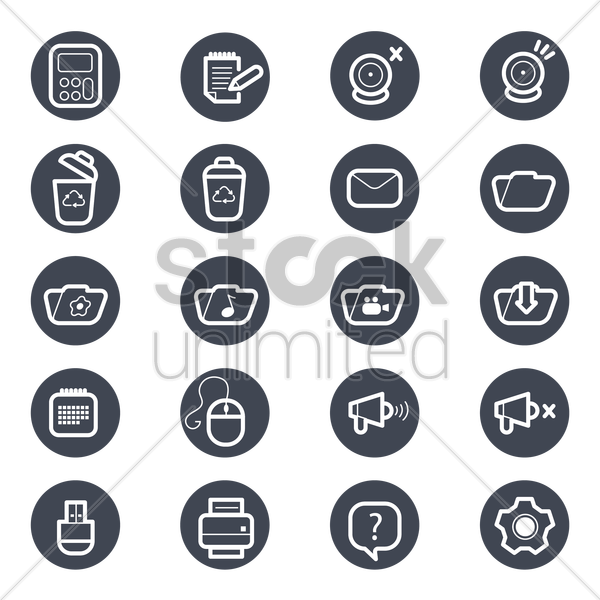Free set of technology icons vector graphic