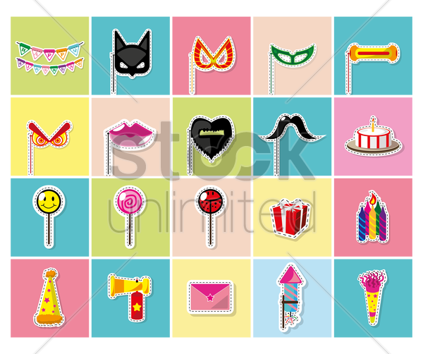 set of toy icons vector graphic