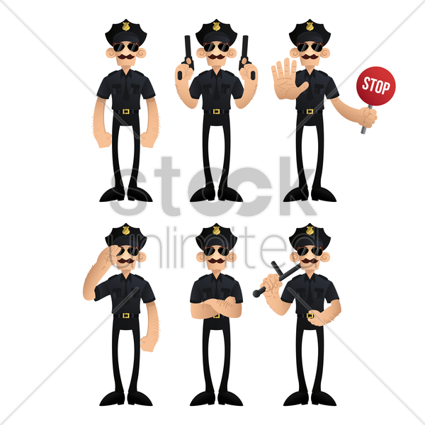 set of traffic policeman with actions vector graphic