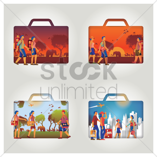 set of travel concept with suitcase vector graphic