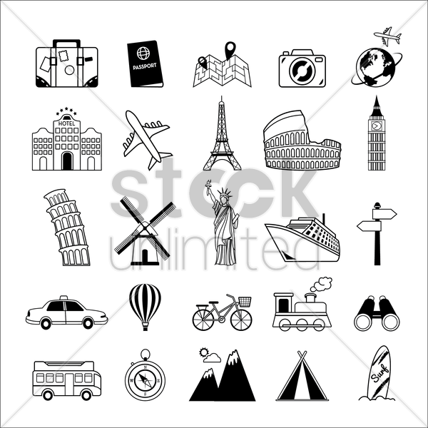 set of travel icons vector graphic