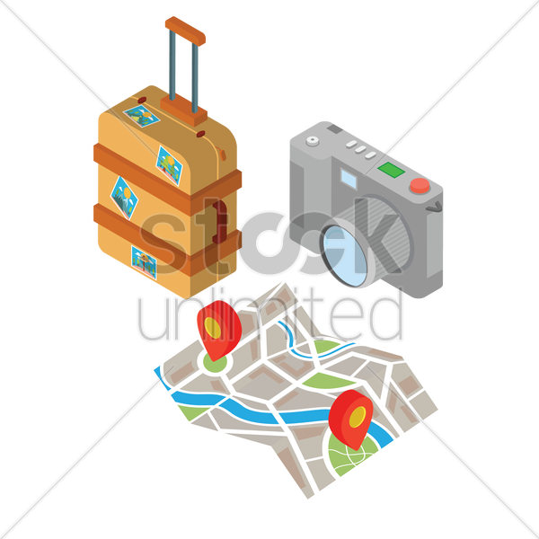set of travel items vector graphic