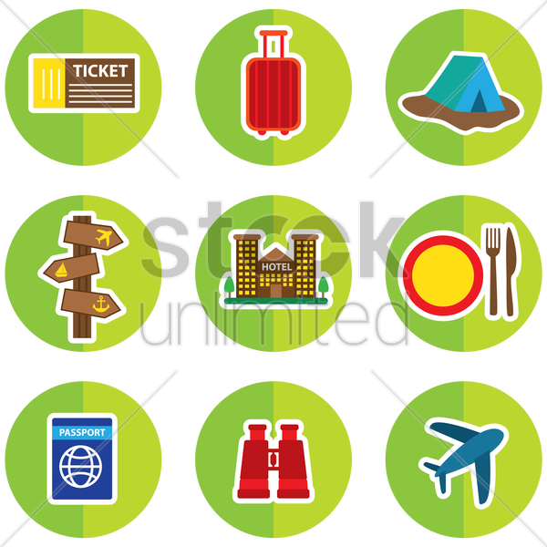 set of travelling icons vector graphic