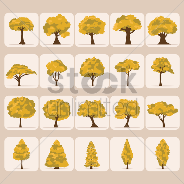Free set of tree icons vector graphic