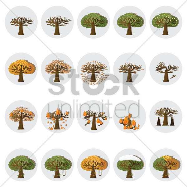 set of tree icons vector graphic