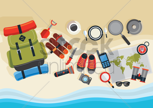 set of trekking icons vector graphic