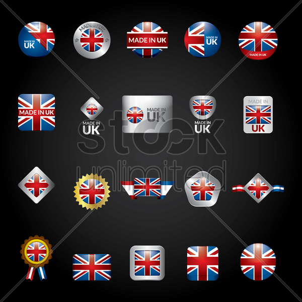 set of uk flag icons vector graphic