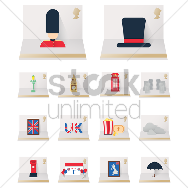 set of uk fold out cards icons vector graphic