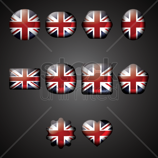set of uk icons vector graphic
