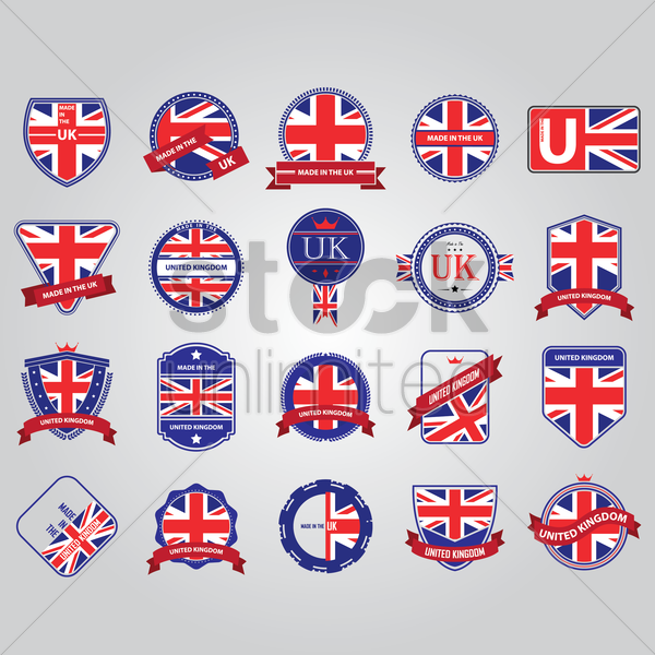 set of uk labels vector graphic