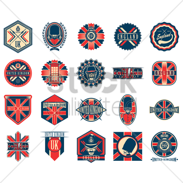 set of uk retro labels vector graphic
