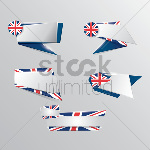 set of united kingdom banners vector graphic