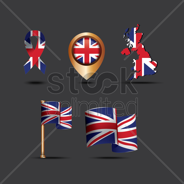 set of united kingdom flag icons vector graphic