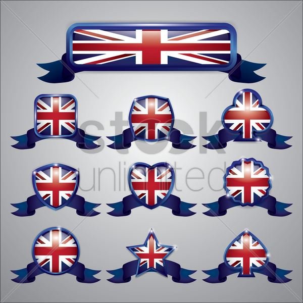 set of united kingdom flag labels vector graphic