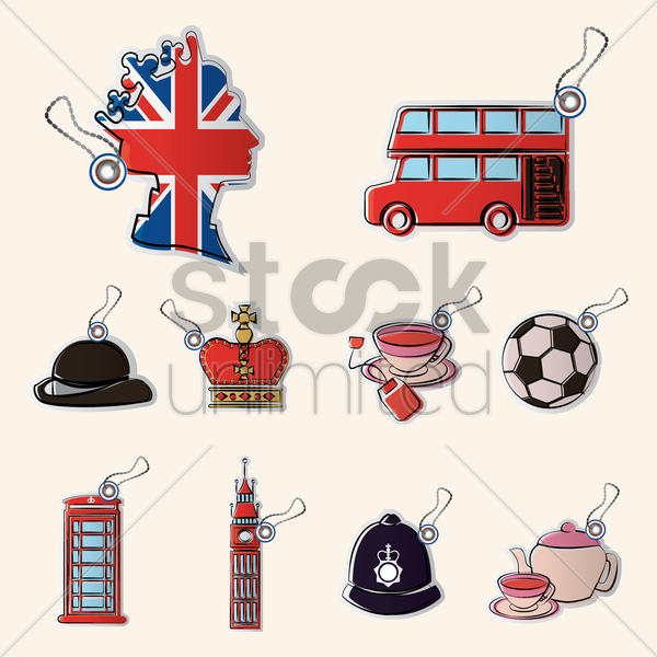 set of united kingdom icons vector graphic
