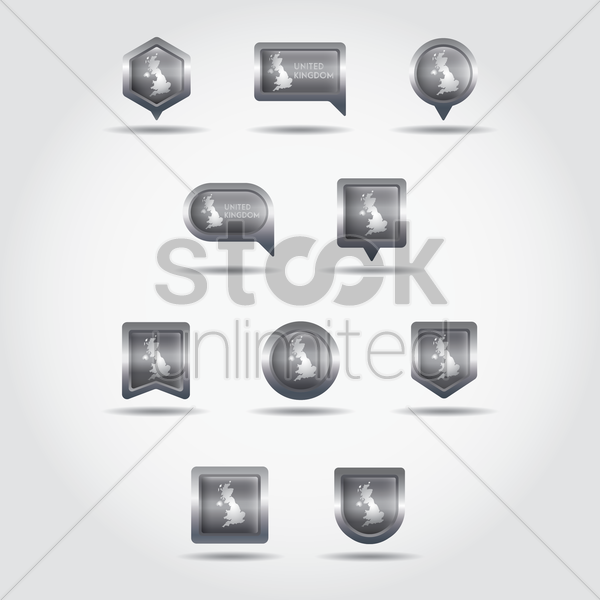 set of united kingdom map navigation pointers and buttons vector graphic