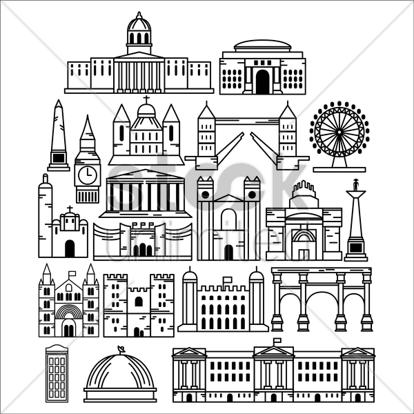 set of united kingdom monuments vector graphic