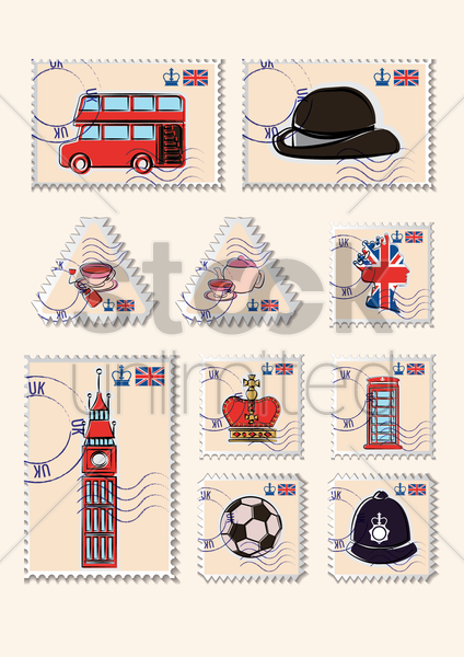 set of united kingdom postage stamps vector graphic
