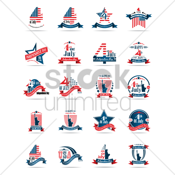set of us independence day labels vector graphic