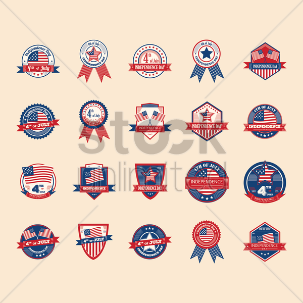 Free set of us independence day labels vector graphic
