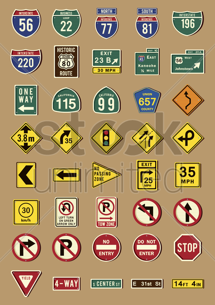 set of us road signs vector graphic