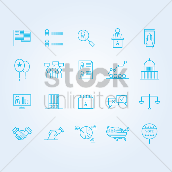 set of usa election icons vector graphic