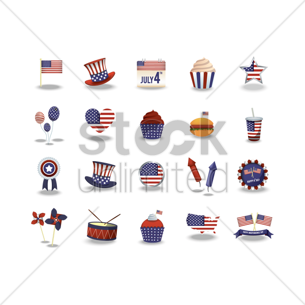set of usa icons vector graphic