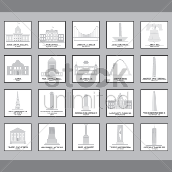 set of usa landmark icons vector graphic