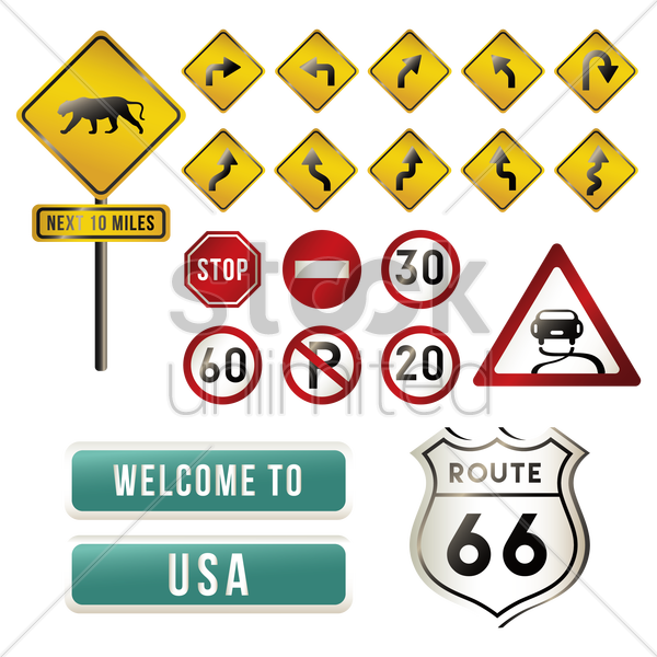 set of usa road signs vector graphic