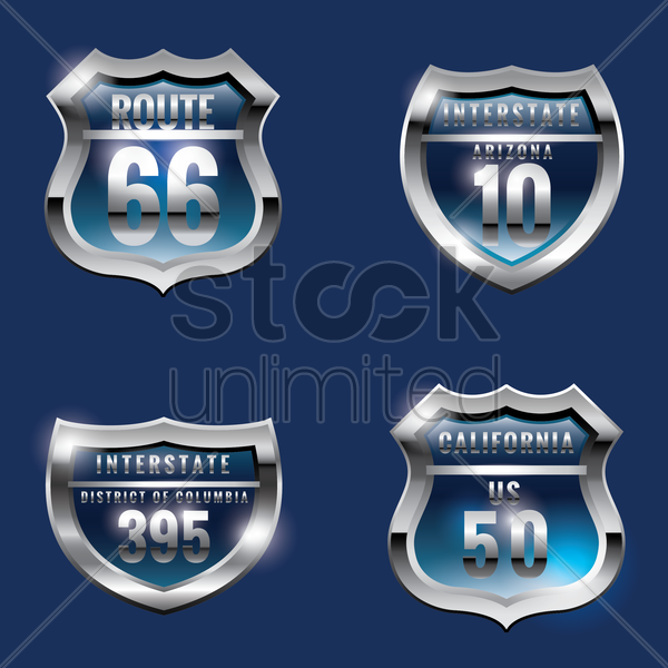 set of usa route signs vector graphic