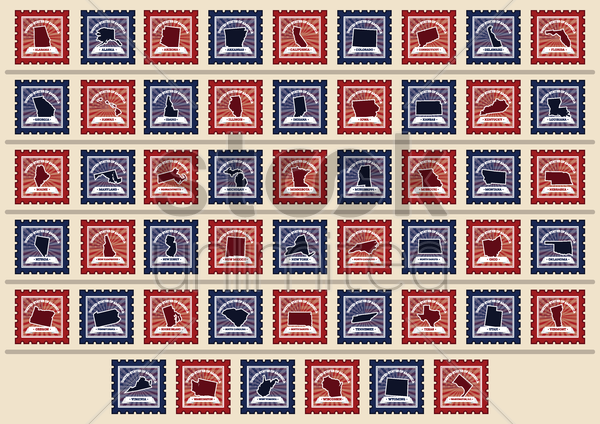 set of usa state postage stamps vector graphic