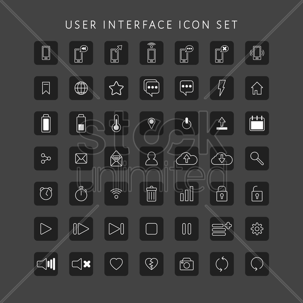 set of user interface icons vector graphic