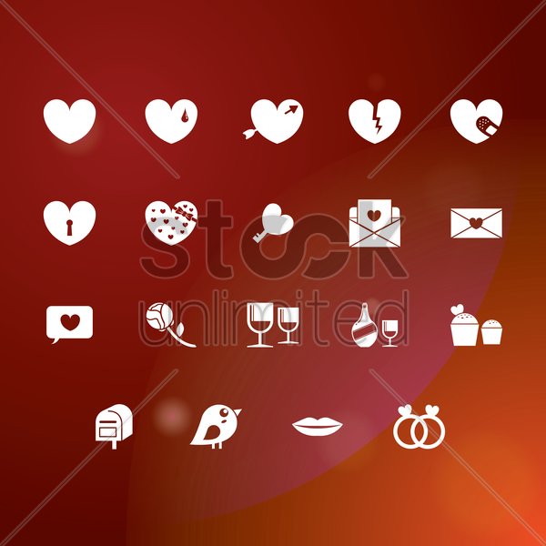 set of valentine icons vector graphic