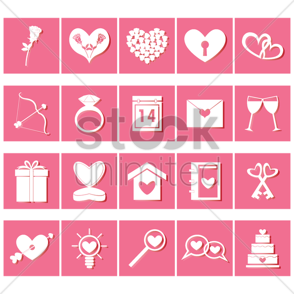 set of valentine's day icons vector graphic