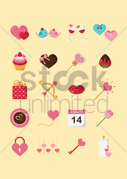 set of valentines day icons vector graphic