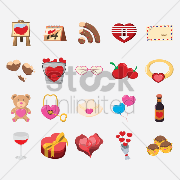 set of valentines day objects vector graphic