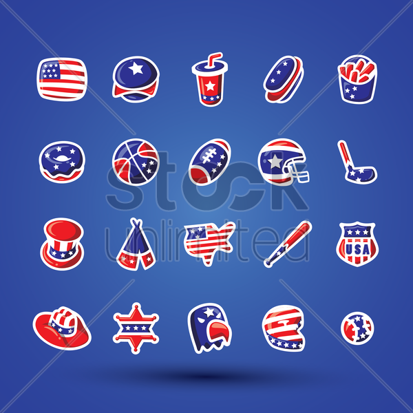 Free set of various icons vector graphic