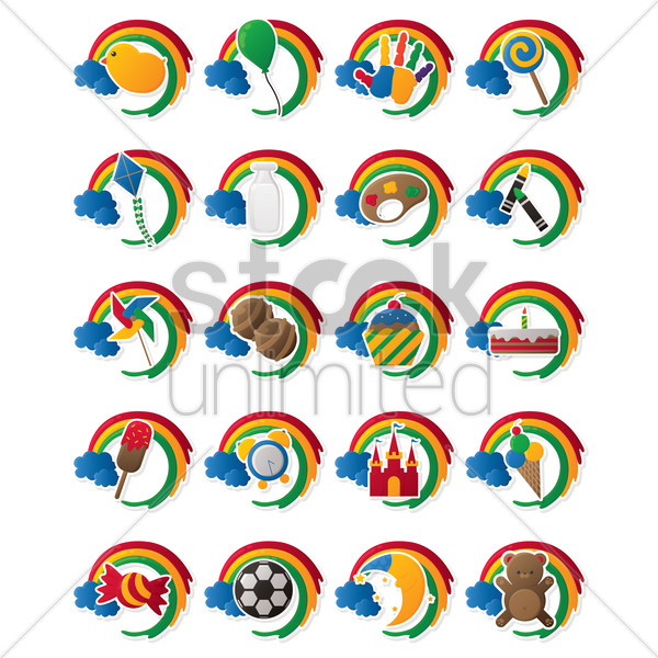 set of various items vector graphic