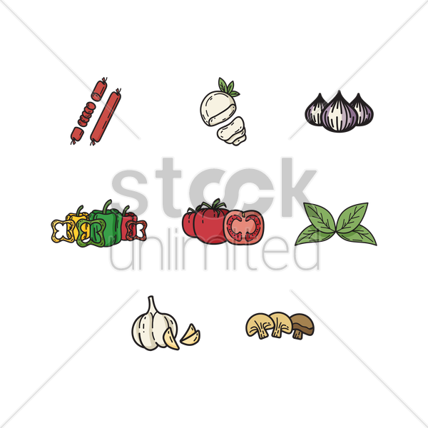 set of vegetables icons vector graphic