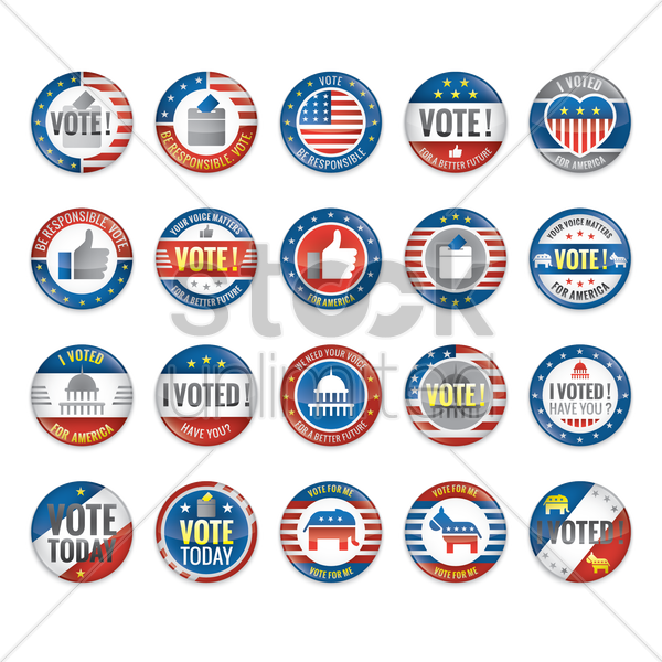 set of voting badges vector graphic