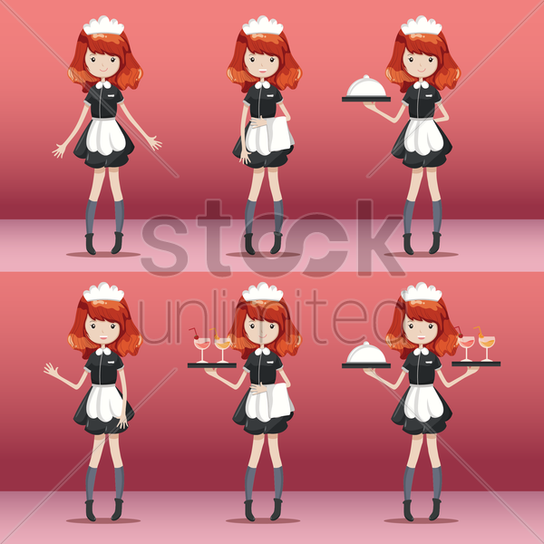 set of waitress vector graphic