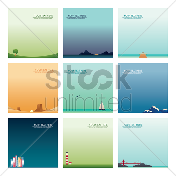 set of wallpapers vector graphic