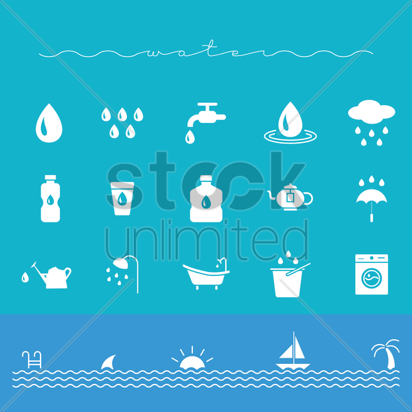 set of water icons vector graphic