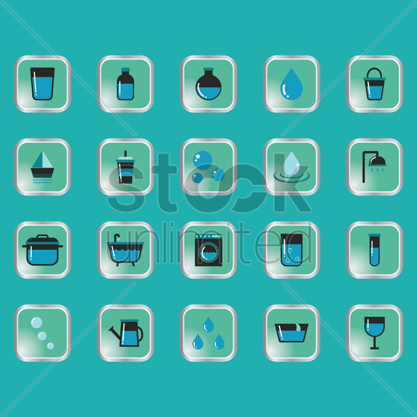 set of water related icons vector graphic