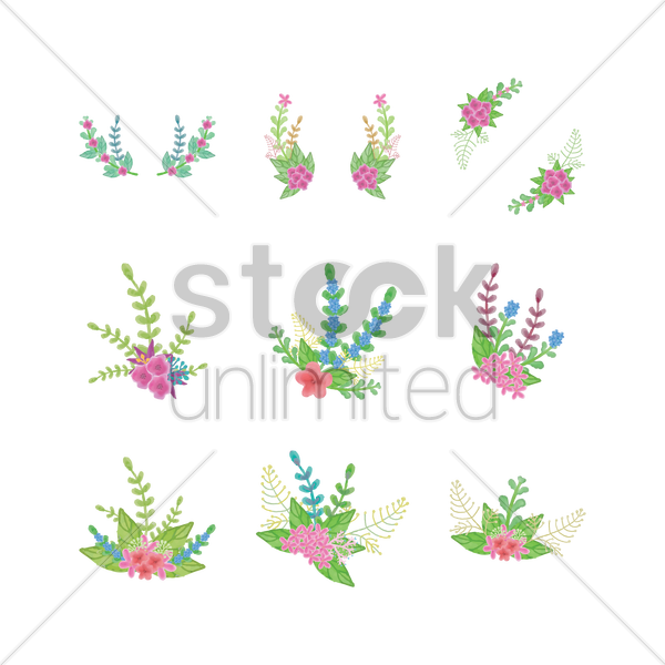 set of watercolor flower with leaves vector graphic