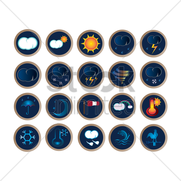 set of weather icons vector graphic