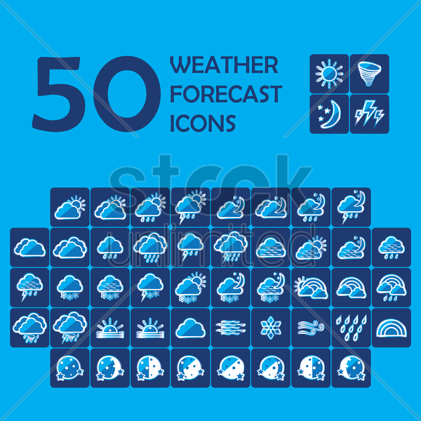 Free set of weather icons vector graphic